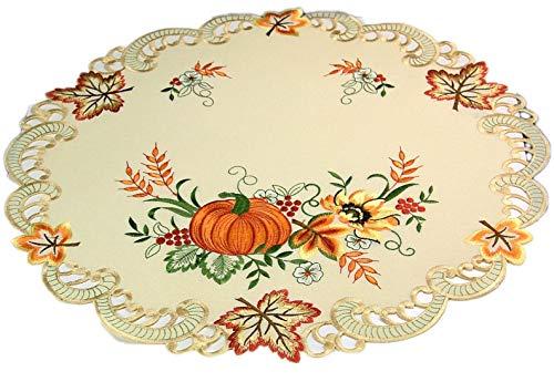 Markenlos Espamira Tischdecke rund 60 cm Creme Kürbis bunt gestickt Herbstdecke Halloween Tischdecke (Mitteldecke 60 cm - Halloween-tischdecke Runde