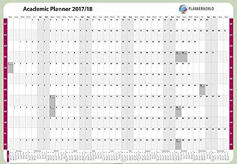 Plannerworld haute qualité A1laminé étudiant Année scolaire Calendrier mural Student Planner 2017au 2018(Aca1-flat), par Plannerworld