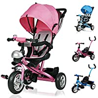 Deuba Kids Trike 3 Wheeler Children Tricycle Ride-On Bike with Parent Handlebar Canopy Pink