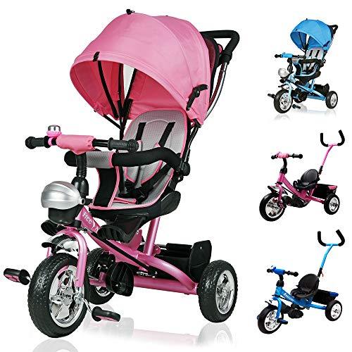 Deuba Tríciclo infantil Rosa niños pequeños y mayores carga máxima 30 Kg cesto extraíble barra en el sillín y de empuje