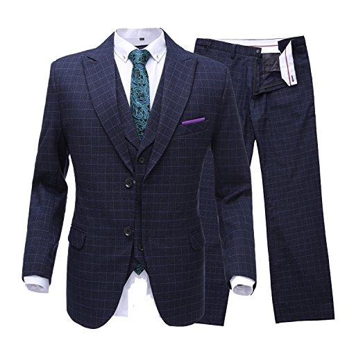 Neue 2-knopf Herren Anzug (Lilis® Herren Zwei Knopf Designer luxuriöse Anzüge Plaid Smoking 3-teiliges Set)