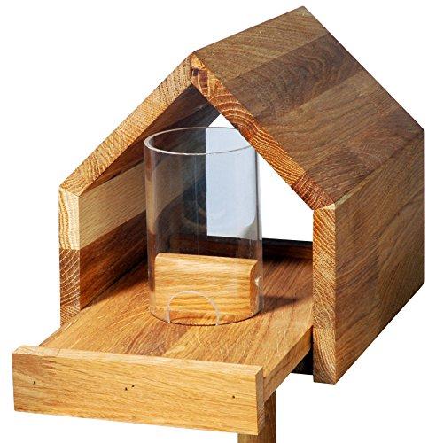 Luxus-Vogelhaus 46601e Eiche-Vogelfutterhaus mit Ständer, Satteldach, Futtertablett und Silo - 2