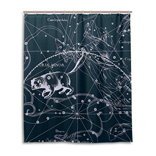Tenda da doccia 152,4x 182,9cm, Fantasy grafico costellazione Orsa Minore, a prova di muffa poliestere tessuto bagno tenda