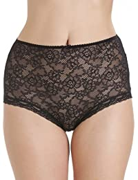 Camille Womens Ladies Black Lace Panel Front Full Briefs