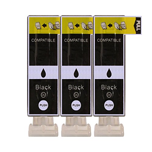 3 Druckerpatronen kompatibel zu PGI-525BK Text Schwarz für Canon Pixma IP4850 IP4950 IX6550 MG5150 MG5250 MG5300 MG5350 MG6150 MG6250 MG8150 MG8250 MX715 MX885