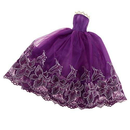 Baoblaze Elegante Puppen Hochzeitskleid Brautkleid Abendkleid Spitze Kleidung für 30cm Barbie-Puppe Hochzeit Party Dress up - Lila (Lila Dress Up Set)