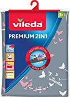 Vileda Premium 2 en 1 - Funda de planchar, tres capas, tamaño universal, suave, medidas: 130 x 45 cm, color gris y blanco