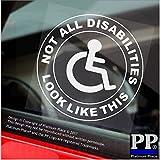 1x nicht alle Behinderungen Look wie this-round-window sticker-sign, Auto, Behinderte, blau, Badge, Fahrer, Beifahrer, Patienten, Geduld