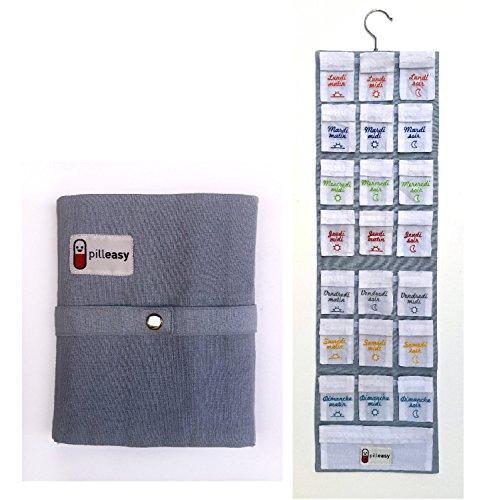 Preisvergleich Produktbild pilleasy Organdi,  Pillendose,  Wochenkalender,  Goldmedaille im Wettbewerb Lépine. Umweltfreundliche Federmäppchen aus Stoff. pochettes-doses nomadischen groß für die Aufbewahrung Produkte in Ihrem Verpackung.