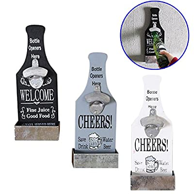 Wildlead Beer Bottle Opener Wood Wall Mounted Vintage Home Bar Restaurant Decoration