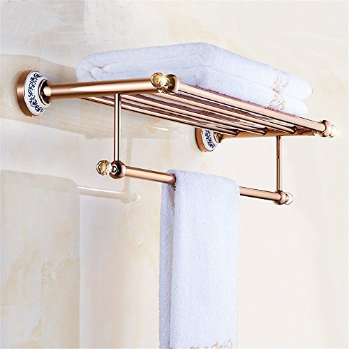 MBYW moderner Handtuchhalter mit hoher Tragkraft Badhandtuchhalter Rosafarbener Handtuchständer aus blauem und weißem Porzellan, europäische Handtuchhalter mit Roségoldkristall-Badezimmeranhänger -