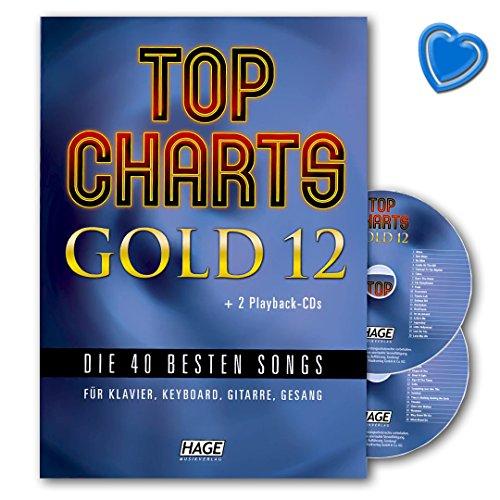 Top Charts Gold 12 - 40 besten Songs für Klavier, Keyboard, Gitarre und Gesang - Songbook mit 2 CDs und bunter herzförmiger Notenklammer