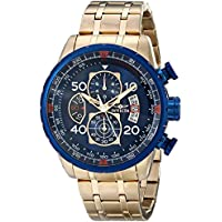 Invicta Aviator Japanese Blue Dial Mens Chronograph Quartz Watch (Gold)