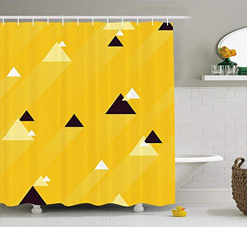 Shower Curtain, Big and Small Diagonal Triangles with Stripes Geometric Retro, Fabric Bathroom Decor Set with Hooks, 60 X 72inch, Marigold Black and White ()
