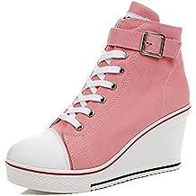 1cba1ccc787 Wealsex Mujer Cuñas Zapatos de Lona High-Top Zapatos Casuales Encaje  Hebilla Talla Grande 35
