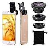 XCSOURCE® 180 Degree Fish Eye Lens + Wide Angle + Macro Lens Kit for iPhone 4, 4S, 5, 5S, 5C, 6, 6 Plus, Samsung GALAXY, S2, S3, S4, Note2, N7100, Note3, S5, S6, S6 Edge, mini i8190, HTC, LG DC264 (Black)
