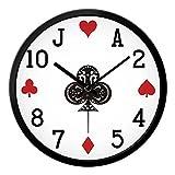 Elettronico Quarzo Orologio Parete, Creativo Moderno Personalità Muto Poker Orologio,DXNSPF Soggiorno Camera Letto Orologio Parete, 12 Pollici , black