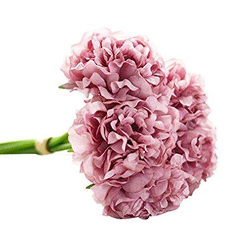 Ukallaite réaliste magnifiques Fleurs Artificielles Pivoine 5 têtes pivoines artificielles Faux Bouquet de mariage de mariage Hortensia Décoration - Vert pomme violet