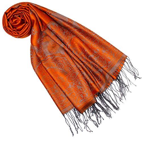 Lorenzo Cana Designer Pashmina Marken Schal gewebtes Pasiely Muster Damast Webart 70 cm x 180 cm Naturfaser Modal Schaltuch Jacquardschal orange 9323177 Designer-schal