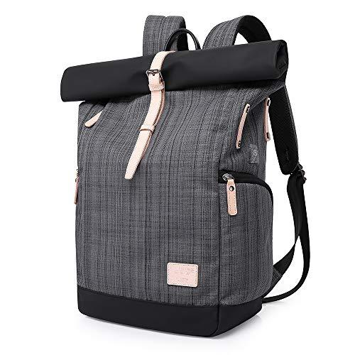 Laptop Rucksack Damen,Roll Rucksack Herren mit USB fur 15.6 Zoll Notebook, Diebstahlsicherung Daypack Schulrucksack Mode Tagesrucksack Frauen (Gitter Grau)
