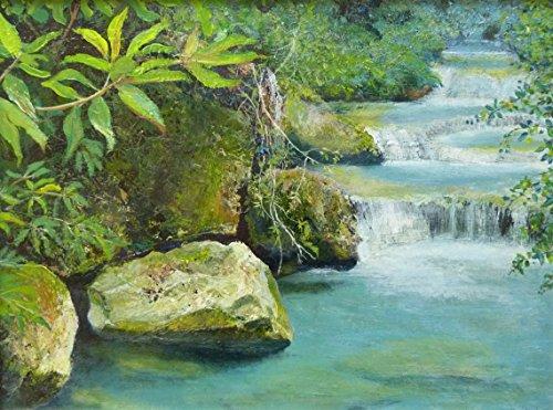 flusso-di-collina-40cmx30cm-pittura-cascata-ruscello-di-montagna-turchese-tropicale