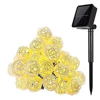 20LED Solar Rattan Lampe Ball Globe Lichterkette, Keeda Solar Weihnachten Licht Outdoor Garten Beleuchtung für Outdoor Garten, Hof, Terrasse, Party, HOME Hochzeit Weihnachten Party Dekoration