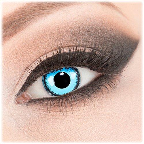Farbige blaue Crazy Fun Kontaktlinsen 1 Paar 'Blue Lunatic' mit Behälter - Topqualität von 'Evil Lens' zu Fasching Karneval Halloween ohne Stärke