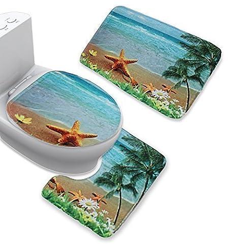 Uomere Ensemble de salle de bain comprenant 1 tapis de bain 1 Housse pour abattant WC et 1 tapis de toilettes à motif de plage