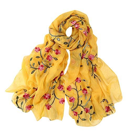 Lazzboy Frauen Stickerei Chiffon Schal Hijab Wrap Schals Stirnband Muslim Hijabs Luxus Damen Seidentuch Aufwändig Bedruckt Tuch Harmonische Farben Damentuch(G) -