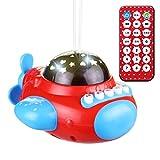 TOYMYTOY Sternlicht Projektor Nachtlicht mit Musik Geschichte Pädagogisches Spielzeug für Klein Kinder Baby Flugzeug Design (rot)