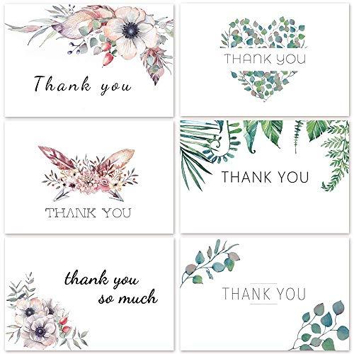 Coogam Diseños florales de tarjetas de 12 agradecimiento 4 x 6 pulgadas en blanco en el interior con sobres blancos y pegatinas para graduación, boda, Navidad, paquete de 48