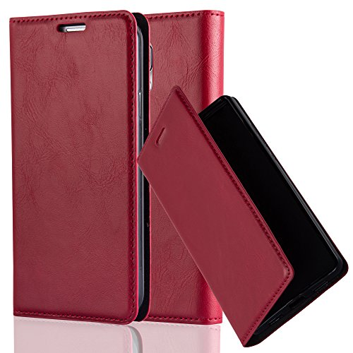 Cadorabo Hülle für Samsung Galaxy S5 / S5 NEO - Hülle in Apfel ROT - Handyhülle mit Magnetverschluss, Standfunktion & Kartenfach - Case Cover Schutzhülle Etui Tasche Book Klapp Style