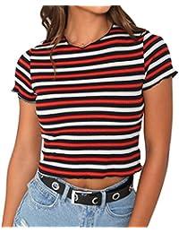 Yying Manga Corta Blusa Para Mujer Verano Casual Camiseta de Rayas Moda Cuello Redondo Camisetas Camisas