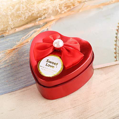 VEA-DE Caja de Almacenamiento multipropósito Caja de Bombones de hojalata Estilo pequeño en Forma de corazón de Boda (Rojo)
