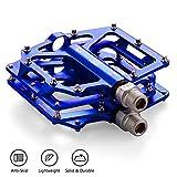 LYCAON Pedali per bicicletta leggero 0.64lb / coppia antiscivolo Cr-Mo in alluminio con cuscinetto a sfere sigillato CNC, 3 cuscinetti pedali Pedali bici per MTB BMX con chiave (Blue)
