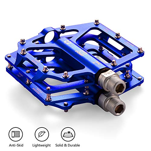 LYCAON Fahrrad Pedale Leichte 0.64lb / Paar Rutschfeste Cr-Mo Aluminium CNC Sealed Kugellager, 3 Lager Pedale Fahrrad Pedale für MTB BMX Mit Schraubenschlüssel (Blue)