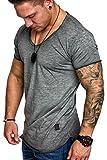 Amaci&Sons Oversize Herren Vintage T-Shirt Verwaschen V-Neck Basic V-Ausschnitt Shirt