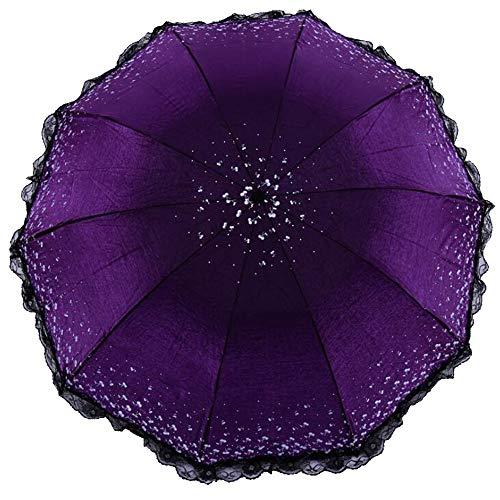 HAIMEI-WU Damen Spitze Farbe Schwärzen Regen und Regen Dual-Use-Sonnenschutz UV-Sonnenschutz Leicht (Color : 6)