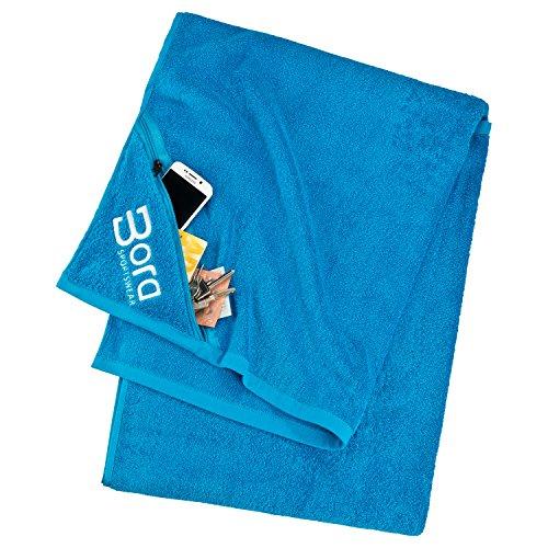 Premium Handtuch / Badetuch mit integrierter Reißverschluss-Tasche 140x80cm aus 100% Baumwolle von Bora Sportswear - Strandtuch, Duschtuch, Saunatuch, Badehandtuch, Sporthandtuch (blau)