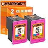 Gorilla-Ink® 2 Patronen XXL kompatibel für HP 62 XL Color - 75% mehr Inhalt! HP Envy e-All-in-One 5660 5665 7640 7645