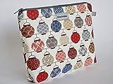 Kosmetiktasche'Seigaiha' Schminktasche Kulturtasche aus Designerstoff mit japanischen Motiven. Innen...