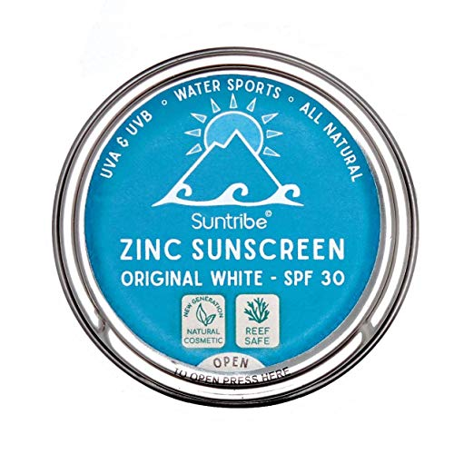 Suntribe Bio-Sonnencreme LSF 30 - Sport & Gesicht - Zinkoxid (mineralischer UV-Filter) - Riff freundlich / Reef safe - 3 Inhaltsstoffe - Wasserfest - WEISS (45 g)