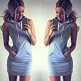 Bovake Art- und Weisefrauen Sommer-beiläufiges Sleeveless Hoody-Kleid (L)