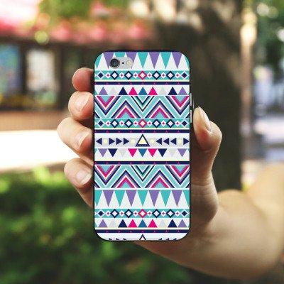 Apple iPhone 5s Housse Étui Protection Coque Motif Motif Triangles Housse en silicone noir / blanc