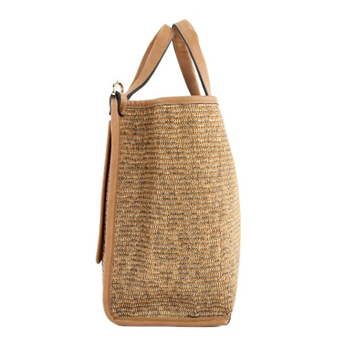 Borsa a sacchetto donna borsa shopping bag in tessuto e in finta pelle TOP4 LK138085 Camel