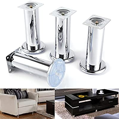 4 x Furniture Foot Lance Wardrobe Foot Bed Feet Couch Feet Sofa Feet Furniture Leg Base Chrome 60MM - inexpensive UK light shop.