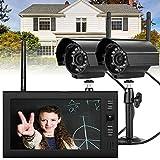 SENDERPICK Überwachungskamera Set mit Monitor, Funk Kamera Set 2XÜberwachungkamera+ 7' TFT LCD Monitor Video Überwachung