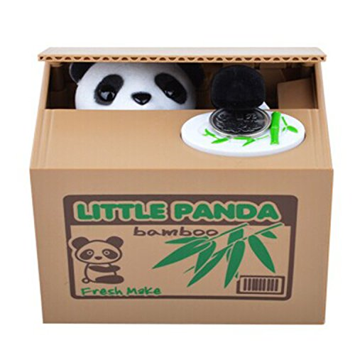 【UNTIL YOU】Gelddose Diebstahl Katzen Pandabär Elektronische Spardose witziges Geschenk für Pfötchen Sparbüchse Sparschwein Bank Piggy Bank Weihnachtsgeschenke Kinder Geschenke (Niedlich Panda) Elektronische Komponente Box