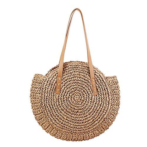 lennonsi Damen Rattan Tasche Handarbeit Umhängetasche Strandtasche Sommer Straw Braided Woven Bag Sling Bag (Kamel) -
