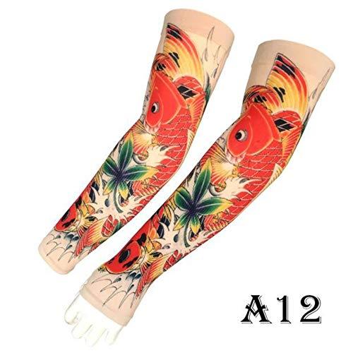 JinRui-Sport Tattoo Sleeve Outdoor-Sportarmband männliche Sonnencreme Tattoo Hülle, L, A12 rote Libelle 2 Packungen